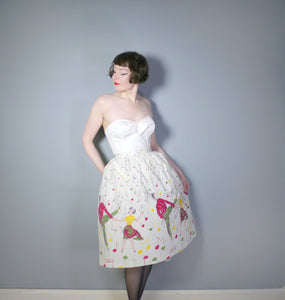 VINTAGE 50s ROCK n' ROLL DANCERS NOVELTY PRINT SKIRT - 30""