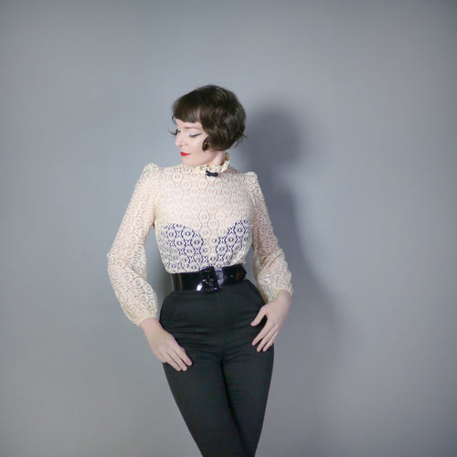 60s 70s GOTHIC VICTORIAN SHEER LACE BLOUSE WITH TUXEDO BOW