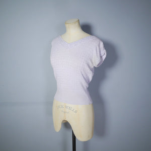 50s SILVER GREY SHORT SLEEVE JUMPER WITH GLASS BEAD EMBELLISHMENT - S