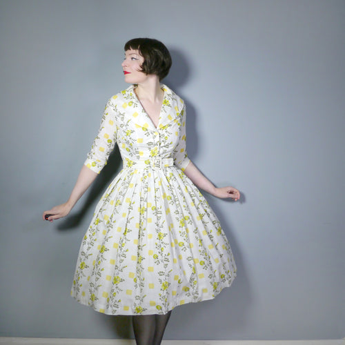50s YELLOW FLORAL SHIRTWAISTER DRESS WITH SHAWL COLLAR AND BELT - S