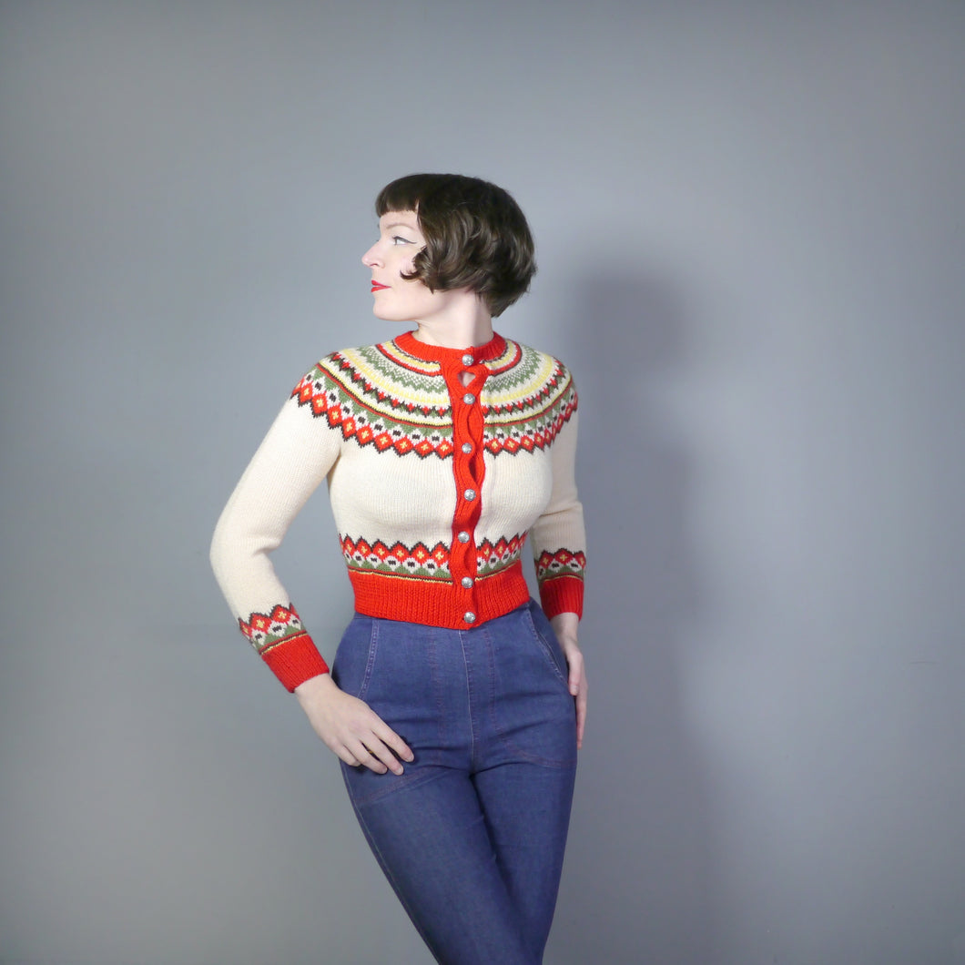 CROPPED SCANDINAVIAN FAIRISLE JUMPER IN RED AND CREAM WOOL - XS-S / petite