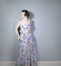 Load image into Gallery viewer, RICHARD SHOPS 40s 50s PURPLE FLORAL CHIFFON FLOOR LENGTH GOWN - S