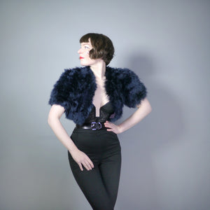 40s CROPPED MARABOU FEATHER BOLERO JACKET IN MIDNIGHT BLUE - S
