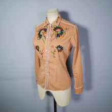 Load image into Gallery viewer, RUST BROWN 60s 70s WESTERN SHIRT WITH EMBROIDERED FLORAL DESIGNS - XS-S