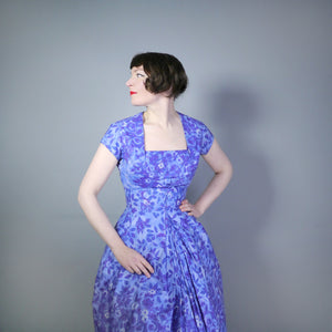 50s SAMBO FASHIONS SUN DRESS AND BOLERO IN BLUE AND PURPLE FLORAL COTTON - XS-S