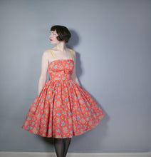 Load image into Gallery viewer, STRAPPY CORAL RED 50s EMPIRE SHELF BUST SUN DRESS WITH FULL SKIRT - S