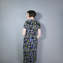 Load image into Gallery viewer, 40s SILKY RAYON FIGURATIVE SHIP AND CREW NOVELTY PRINT DRAPED DRESS - S