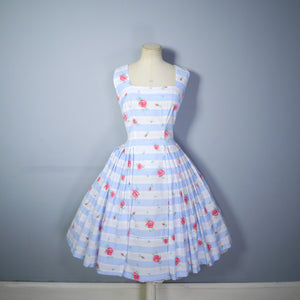 50s BLUE WHITE STRIPED AND FLORAL FLAIR BY SPORTLANE DRESS - S