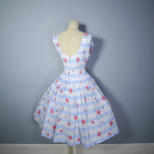 Load image into Gallery viewer, 50s BLUE WHITE STRIPED AND FLORAL FLAIR BY SPORTLANE DRESS - S