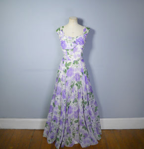 RICHARD SHOPS 40s 50s PURPLE FLORAL CHIFFON FLOOR LENGTH GOWN - S