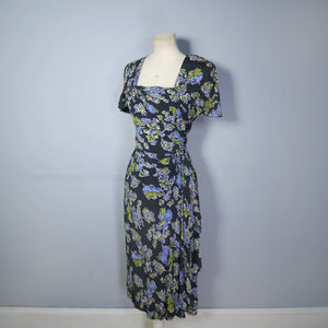 40s SILKY RAYON FIGURATIVE SHIP AND CREW NOVELTY PRINT DRAPED DRESS - S