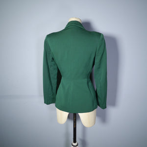 40s GREEN FITTED SINGLE BUTTON JACKET WITH SOUTACHE POCKETS - M