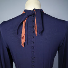 Load image into Gallery viewer, 30s 40s NAVY ART DECO COLOURBLOCK DRESS WITH ORANGE SCARF BANDS - XS