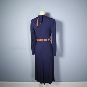 30s 40s NAVY ART DECO COLOURBLOCK DRESS WITH ORANGE SCARF BANDS - XS