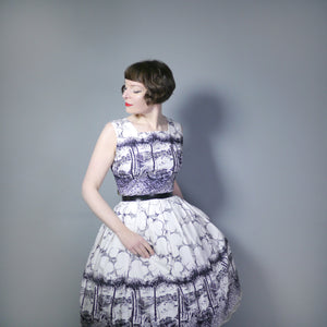 50s VENICE BORDER PRINT NOVELTY DRESS IN BLACK AND WHITE - M