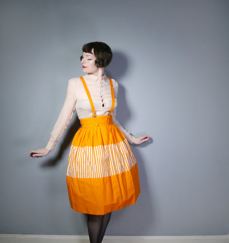 BRIGHT ORANGE STRIPE 50s PINAFORE SUSPENDER / BRACES SKIRT - 24
