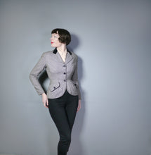 Load image into Gallery viewer, 50s HOUNDSTOOTH HOURGLASS FITTED JACKET WITH VELVET COLLAR - S