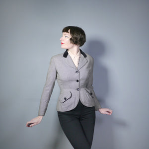 50s HOUNDSTOOTH HOURGLASS FITTED JACKET WITH VELVET COLLAR - S