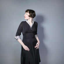 "Load image into Gallery viewer, 40s 50s BLACK RAYON ""BICKLER"" DRESS WITH LEOPARD PRINT CUFFS AND COLLAR - S-M"
