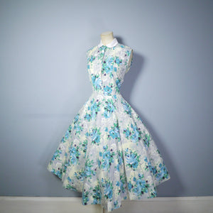 FLORAL 50s COTTON DRESS WITH FULL SWEEP AND PETER PAN COLLAR - S