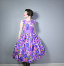 Load image into Gallery viewer, COLOURFUL PURPLE FLORAL 50s DRESS WITH FULL SKIRT - S