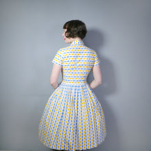 Load image into Gallery viewer, YELLOW AND BLUE OVAL ABSTRACT PRINT 50s COTTON DAY DRESS - S