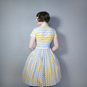 YELLOW AND BLUE OVAL ABSTRACT PRINT 50s COTTON DAY DRESS - S