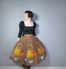 Load image into Gallery viewer, 50s BROWN NOVELTY BORDER SKIRT WITH KNITTING BASKET AND YARN BALL PRINT- 32.5""