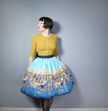 Load image into Gallery viewer, 50s NOVELTY HISTORICAL ROMAN? BATTLE PRINT FULL SWING SKIRT - 28.5""