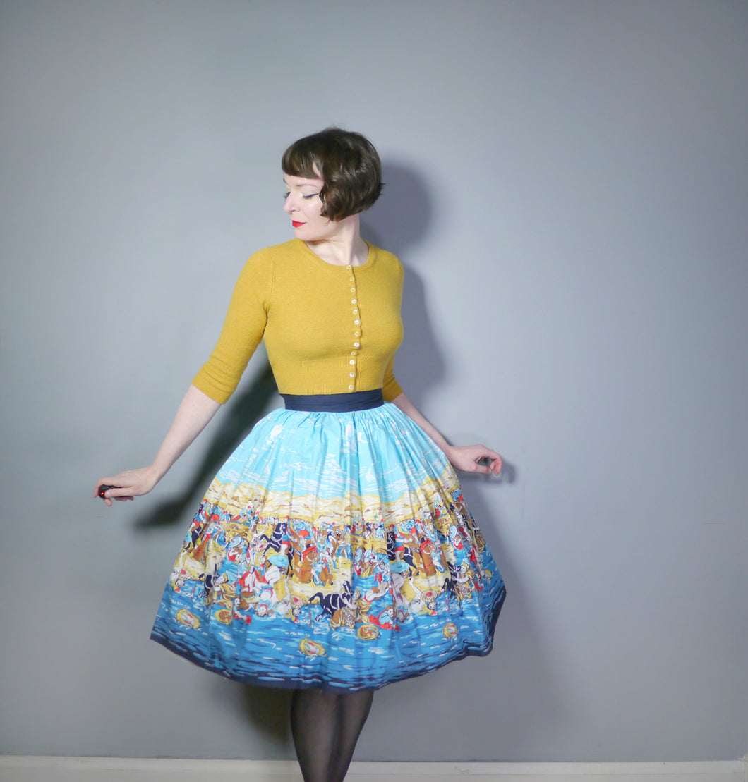 50s NOVELTY HISTORICAL ROMAN? BATTLE PRINT FULL SWING SKIRT - 28.5