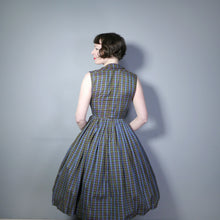 Load image into Gallery viewer, OLIVE GREEN, BROWN AND BLUE PLAID CHECK 50s FULL SKIRTED DAY DRESS - XS