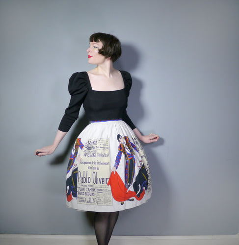 50s 60s SPORTAVILLE NOVELTY MATADOR / BULL FIGHTER SKIRT - 24.5