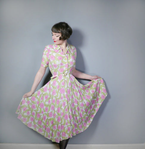 40s PINK CACTUS? FLOWER FULL SKIRTED SHIRTWAISTER TEA DRESS - S