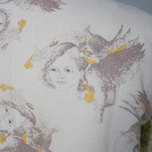 NOVELTY 70s SHIRT IN LADY FACE AND BIRD PRINT BY LISA-JANE - S-M
