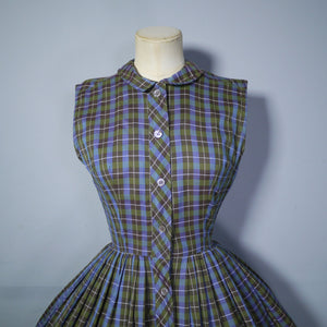 OLIVE GREEN, BROWN AND BLUE PLAID CHECK 50s FULL SKIRTED DAY DRESS - XS