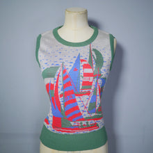 Load image into Gallery viewer, NAUTICAL SAIL BOAT MOTIF 70s TANK TOP / SLEEVELESS JUMPER - S