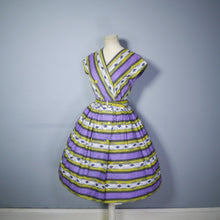Load image into Gallery viewer, 50s MID CENTURY PRINT PURPLE AND LIME STRIPED DOUBLE BREASTED DAY DRESS - S