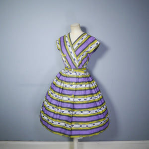 50s MID CENTURY PRINT PURPLE AND LIME STRIPED DOUBLE BREASTED DAY DRESS - S