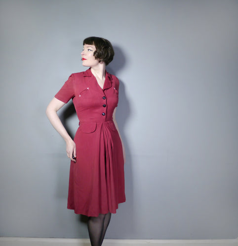 40s BURGUNDY SHIRTWAISTER DRESS WITH WESTERN STYLE POCKETS - S