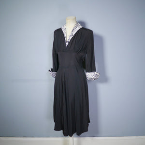 "40s 50s BLACK RAYON ""BICKLER"" DRESS WITH LEOPARD PRINT CUFFS AND COLLAR - S-M"