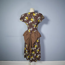 Load image into Gallery viewer, 40s NOVELTY DEER AND FLOWER PRINT BROWN RAYON DRESS - S