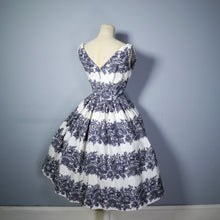 Load image into Gallery viewer, 50s VICTOR JOSSELYN BOUSSAC DE PARIS CREAM AND BLACK FLORAL DRESS - S