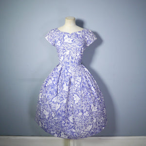 POINTILLIST FLORAL PRINT 50s COTTON DAY DRESS IN BLUE AND WHITE - S