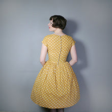 Load image into Gallery viewer, LIGHT BROWN POLKA DOT 50s COTTON DAY DRESS - S