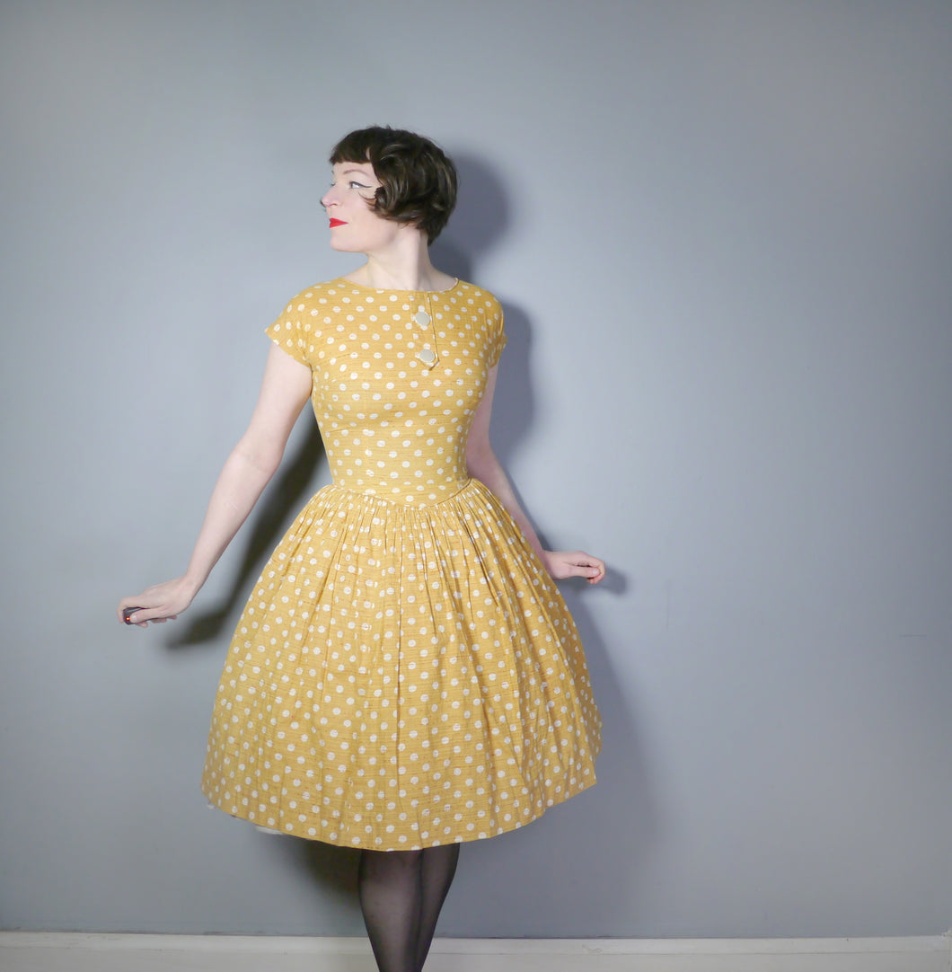 LIGHT BROWN POLKA DOT 50s COTTON DAY DRESS - S
