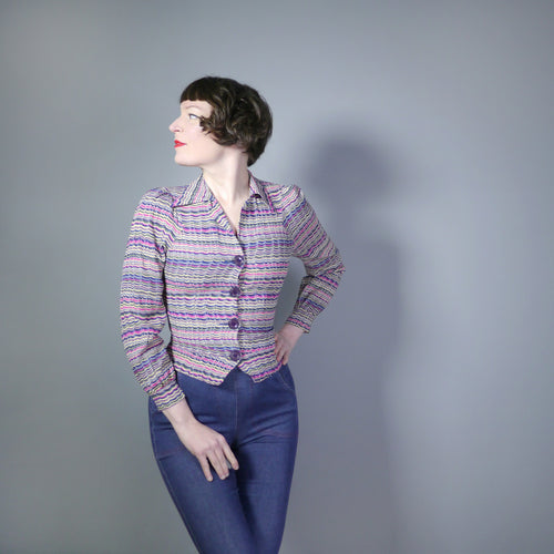 70s does 40s ART DECO STYLE WAVY STRIPE PRINT SHIRT - XS