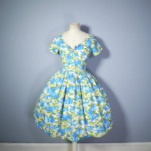 CALIFORNIA COTTONS BLUE FLORAL FULL SKIRTED SUMMER DRESS - S-M