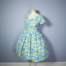 Load image into Gallery viewer, CALIFORNIA COTTONS BLUE FLORAL FULL SKIRTED SUMMER DRESS - S-M
