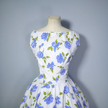 Load image into Gallery viewer, 50s HANDMADE BLUE ROSE FULL CIRCLE SWEEP COTTON DRESS - S-M