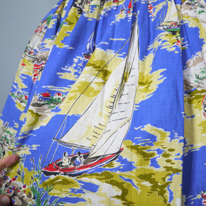 50s 60s NAUTICAL NOVELTY SAILBOAT LANDSCAPE PRINT SUMMER SKIRT - 25.5""